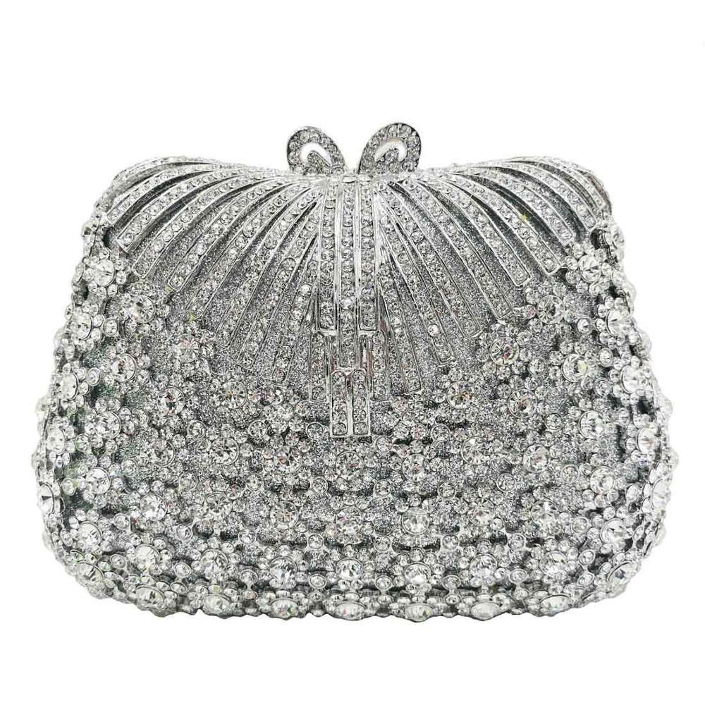 Luxury Silver Diamond Women Dinner Bags Wedding Party Bridal Clutch Bags Colorful Female Purse Crystal Evening