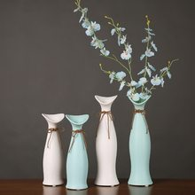 Modern Living Room New Year Decor Craft Dry Flower Water Plant Vase Ceramic Desktop Flower Vases For Decoration Figurines Craft(China)