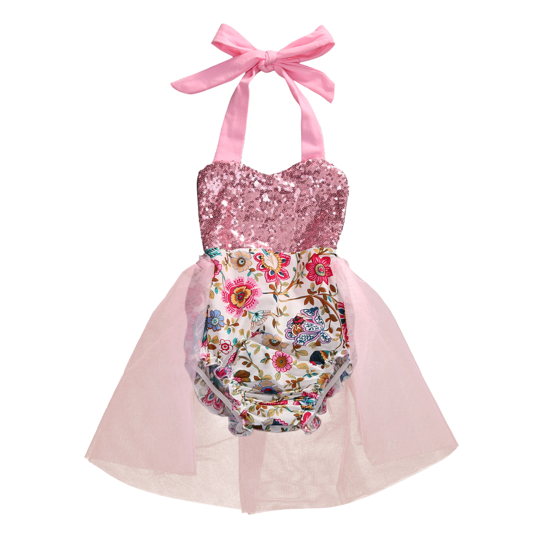 New Summer Cute Newborn Baby Girl Romper Sequins Floral Sunsuit Tutu Skirted Rompers Clothes Backless Princess Party Costume pudcoco newborn baby girl clothes 2017 summer sleeveless floral romper backless jumpsuit sunsuit children clothes