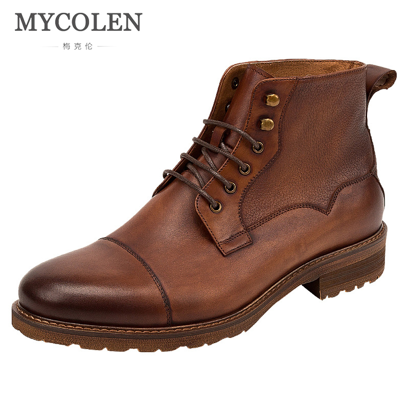 MYCOLEN Autumn Winter Men Boots Brand Designer Vintage Style Men Shoes Casual Fashion High Quality Lace-Up Sapato Masculino italian style fashion men s jeans shorts high quality vintage retro designer classical short ripped jeans brand denim shorts men