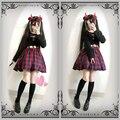 Cool & Bonito Cintura Oco Out Sexy Harajuku das Mulheres Vestido Vermelho & Black Plaid Verifica Punk Gótico Vestido de Uma Peça de Manga Comprida primavera