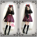 Cool & Cute Women's Waist Hollow Out Sexy Harajuku Dress Red & Black Plaid Checks Punk Gothic Dress One Piece Long Sleeve Spring