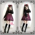 Harajuku fresca y Linda de la Cintura de Las Mujeres Ahueca Hacia Fuera Sexy Vestido Rojo y negro Plaid Comprueba Punk Gótico Vestido de Una Sola Pieza de Manga Larga primavera