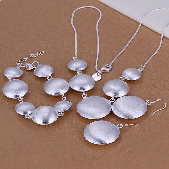 925 sterling silver jewelry set, moda establecida vaca ronda conjunto de tres pi