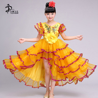 New Handmad Children Dance Costume Kids Chinese Folk Dance Girl's Performance Costumes Stage Dancing Show