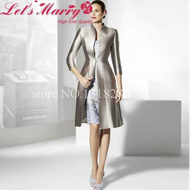 c9e9ef93818 WDZ-208 Elegant Gray Jackt Short Skirt Evening Dress Vestido Madrina Corto  Groom Mother Dresses Bayan Abiye Mother Of The Bride