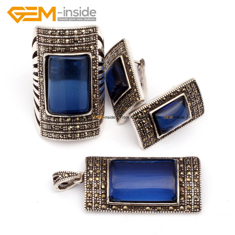 Image 2 - Antiqued Silver Ring Earrings Pendant Jewelry Sets Rectangle  Agates Beads Fashion Jewellery Set Free Shipping Wholesale Gempendant  jewelry setsfashion jewelry setjewelry sets