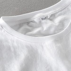Image 3 - Camiseta para hombre de manga corta de lino con costura bordada de dibujos animados, camiseta informal de la marca con cuello redondo de algodón blanco elástico para hombre