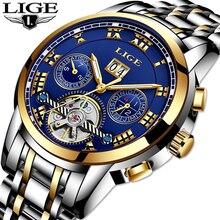 LIGE Marca de Luxo Homens Relógio Mecânico Full-automatic Tourbillon Aço Inoxidável Homem de Negócios Calendário Relógios relogio masculino
