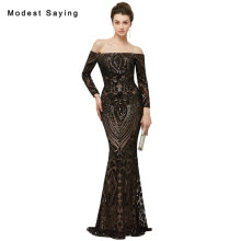 New Luxury Black Sexy Mermaid Off the Shoulder Sequined Lace Evening Dresses 2018 with Sleeves Party Prom Gowns abendkleider