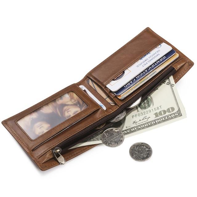 teemzone Top Sale Oil Wax Leather Fashion Men's Slim Bifold Wallets Vintage ID Credit Card Bag Money Coin Wallet Brown Q618