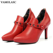 VAMOLASC New Women Autumn Winter Leather Ankle Boots Pointed Toe Zipper Thin High Heel Boots Rivets Women Shoes Plus Size 34-43