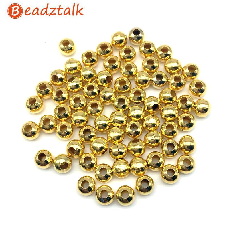 1000Pcs//Lot HOT Round Ball Spacer Metal Beads Jewelry Making Wholesale 3MM