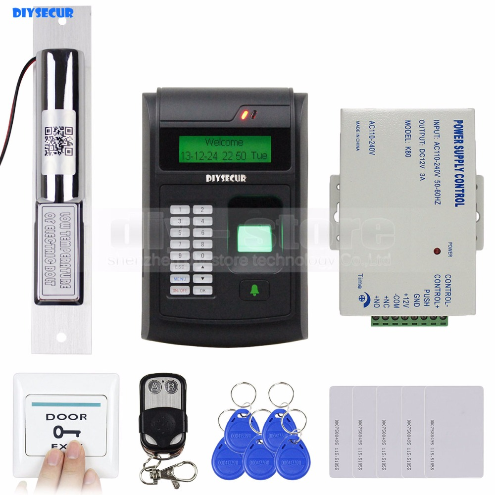 DIYSECUR Remote Control 125KHz RFID LCD Fingerprint Keypad ID Card Reader Access Control System Kit + Electric Bolt Lock 208I-S diysecur magnetic lock door lock 125khz rfid password keypad access control system security kit for home office