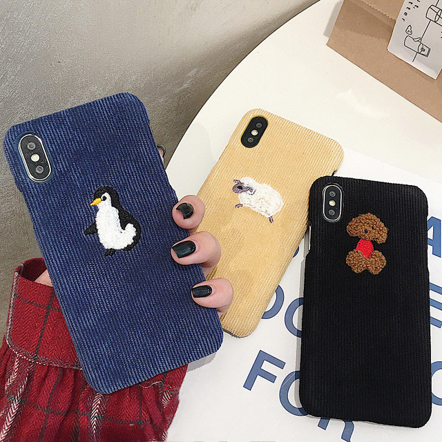 Cute Dog Sheep Embroidery iPhone Cover - Warm Corduroy Hard Cases 5