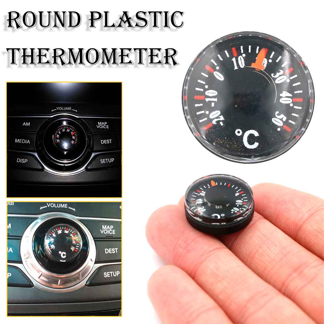 Outdoor Waterproof Plastic Round Car Diameter 20mm Mini Thermometer pointer Degrees Celsius Thermometer
