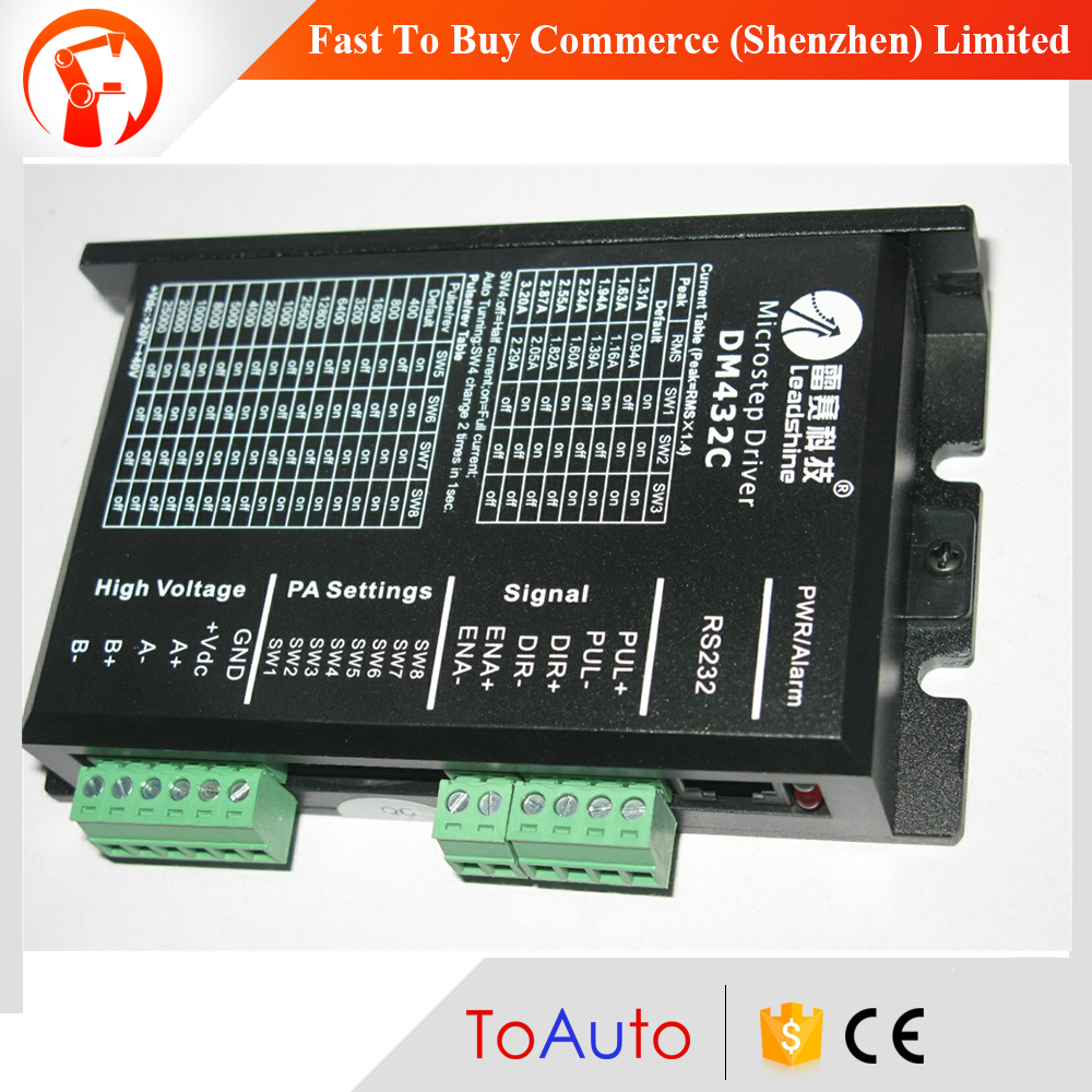 DM432C Leadshine CNC Stepper Drive 2 phase digital stepping drive 1.3~3.2A 18~40VDC Good for Low Speed Matching Nema17 23 Motor leadshine am882 stepper drive stepping motor driver 80v 8 2a with sensorless detection