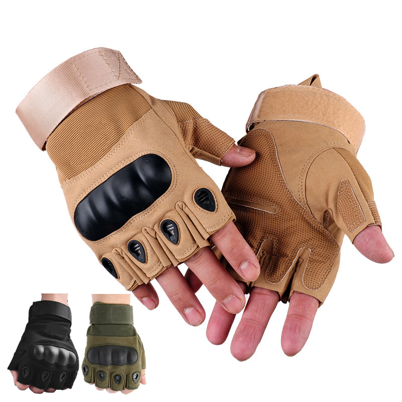 Half Finger Outdoor Tactical Gloves Anti-Slip Work Safety Gloves For Outdoor Sport Hunt Bicycle Riding CS Hands Protection oumily the second generation outdoor tactical half finger gloves gray black size xl pair
