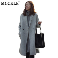 MCCKLE Women S Elegant Long Style Warm Wool Blends Autumn Winter Vintage Solid Coats Jackets Ladies