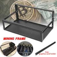 6 GPU Graphics Card Black PSU Compatible Rack Open Air Miner Equipment Mining Frame Support 4 Fans Overlying Iron Case For ATX