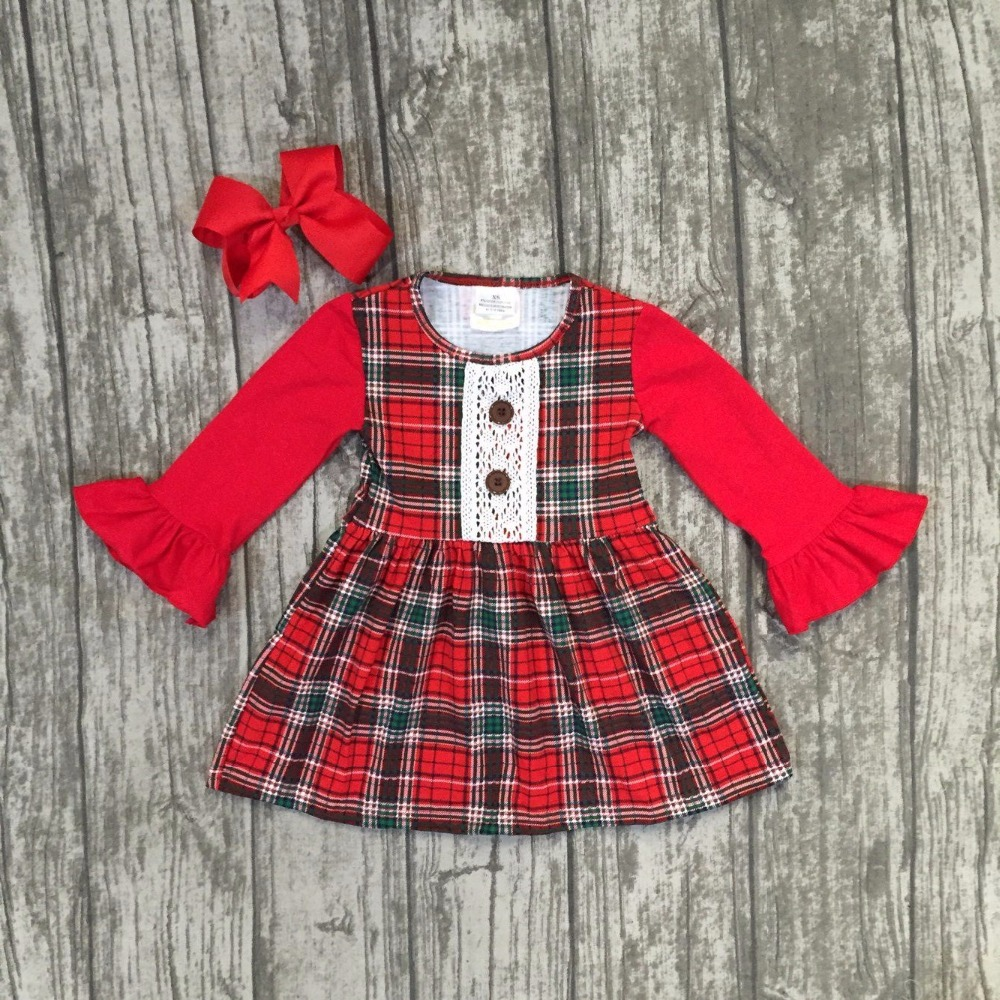 new Christmas fall/winter baby girls clothes children red black plaid long sleeve cotton ruffle boutique outfits match clip bow free ship fall winter long sleeve children clothing sets infant girls ruffle outfits knitted cotton newborn baby clothes f110