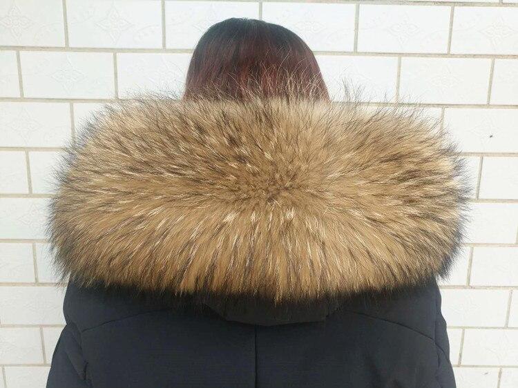 Hiver 100% réel fourrure de raton laveur collier grand unisexe écharpe de fourrure femmes outwear colliers facile fixer divers couleur taille col F728
