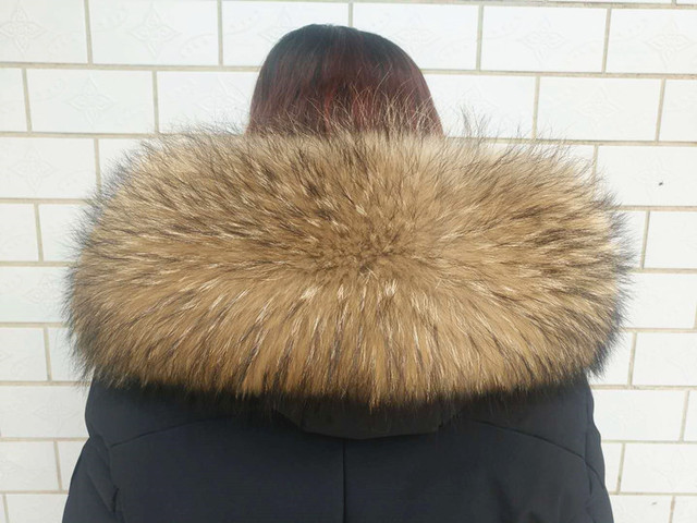 winter 100% real raccoon fur collar large unisex fur scarf women outwear collars easy fasten various color size collar F728