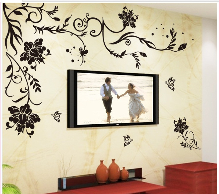 Black Butterfly Flower Removable Vinyl Wall Sticker Decals Quote Living room bedroom background Home Decor Free shipping