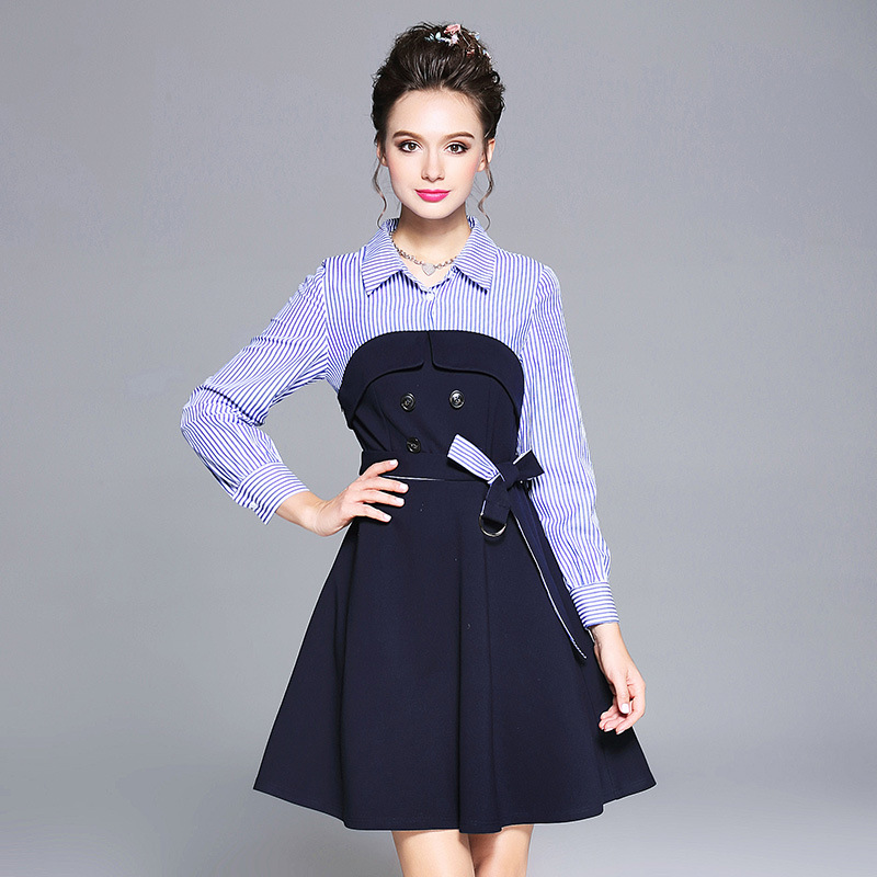 2017 Autumn Winter Ladies cute A-line dress stripe patchwork pinched waist elegant Dress casual Vestidos plus size L-XXXXXL 6120