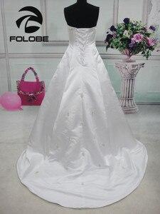 Image 2 - Elegante satén sin tirantes, abalorio De lentejuelas, Vestidos De Novia largos, sin espalda con pliegues, corte en A