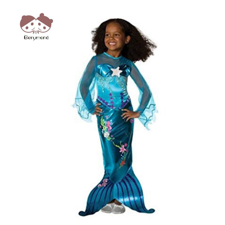 Baby Girls Mermaid Princess Dress Children Halloween Little Mermaid Ariel Cosplay Costumes for Kids Carnival Party Dress