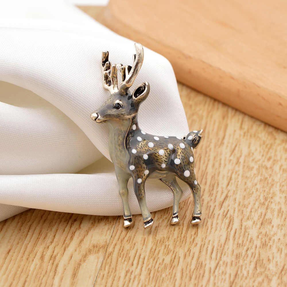 Cindy Xiang 3 Warna Tersedia Cute Kecil Rusa Bros untuk Wanita Dolar Sika Rusa Hewan Bros Pin Mantel Aksesoris Anak-anak hadiah