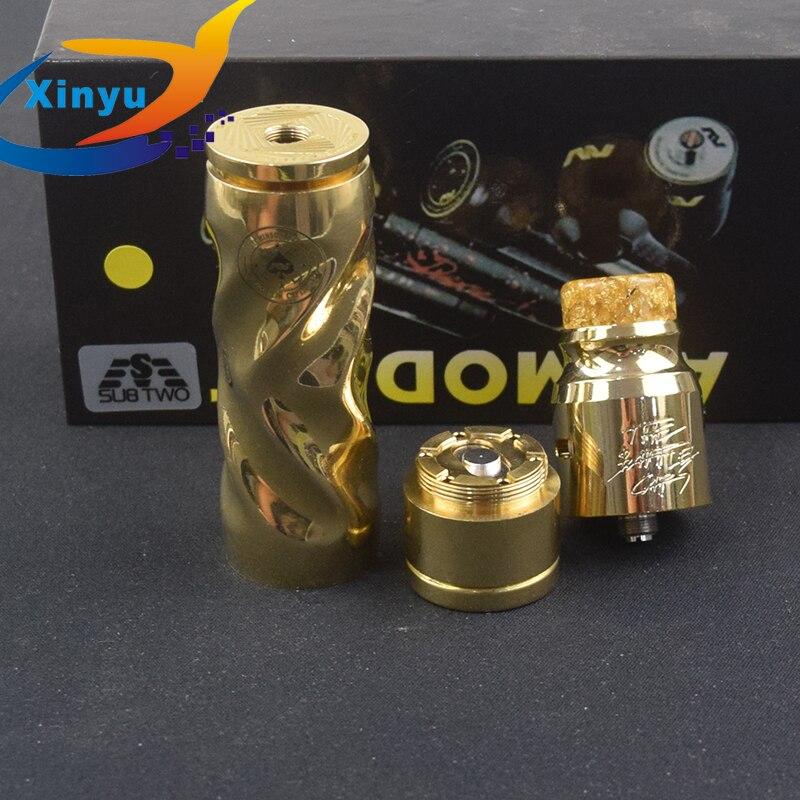 Kit de torsion série AV en laiton matériel mécanique mod 18650 batterie kit de cigarette électronique avec 510 atomiseur de diamètre 24mm