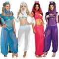 2016 Новая Мода Sexy GENIE Жасмин Aladdin Принцесса Костюм Причудливого Платья Арабский танец Живота Платье