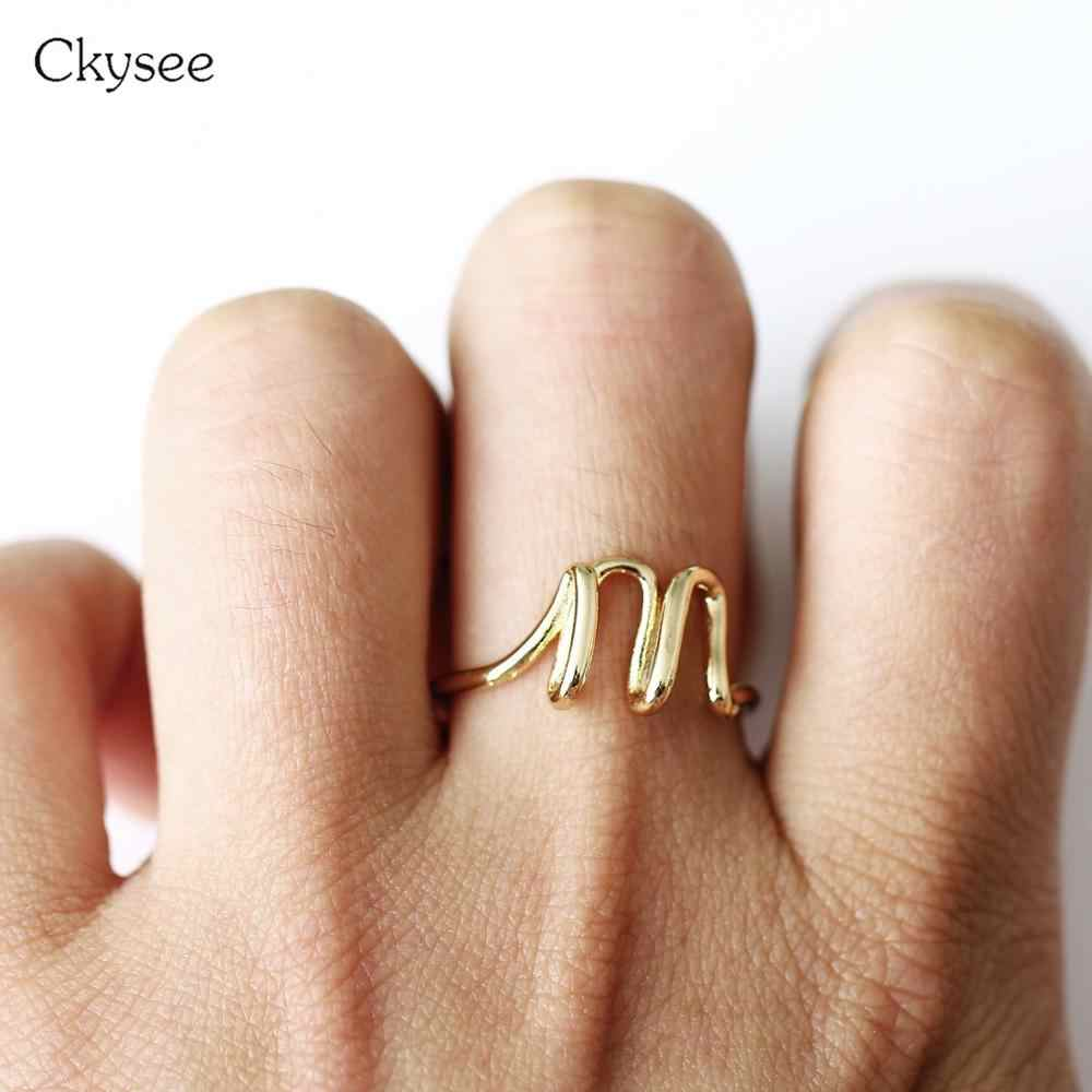 New Design Simple Letter Rings For Women Gold Silver Color Ring Femme Statement Party Charm Jewelry Gifts Adjust Size