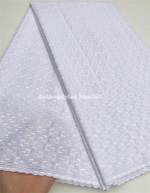 Atiku tessuto per gli uomini merletto svizzero del voile dentelle blanche tessuto di pizzo di cotone del bambino del tessuto del nigeriano di cerimonia nuziale del merletto 5 yard/ set KFZ-1