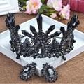 HIMSTORY Oversize Large Bridal Crown European Baroque Black Crystal Wedding Tiara Hair Accessories Prom Crown Party Hairwear
