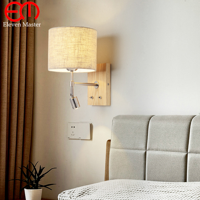 Gunny Lampshade Bedside Wall Lamp Led Spot Lighting Fixtures In The Reading Light With Switch Fabric Sconce Wwl005
