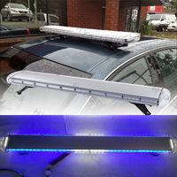 47 88LED Emergency Light Bar Beacon Warning Tow Truck Roof Top Response Strobe Blue White Flashing Lamp