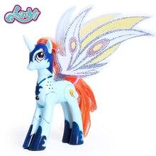 Lanyitoys с рисунком из мультфильма «Мой маленький магический радуга Пони экшн-фигура аниме игрушки сюрприз единорог с светильник и музыки 6 дюймов