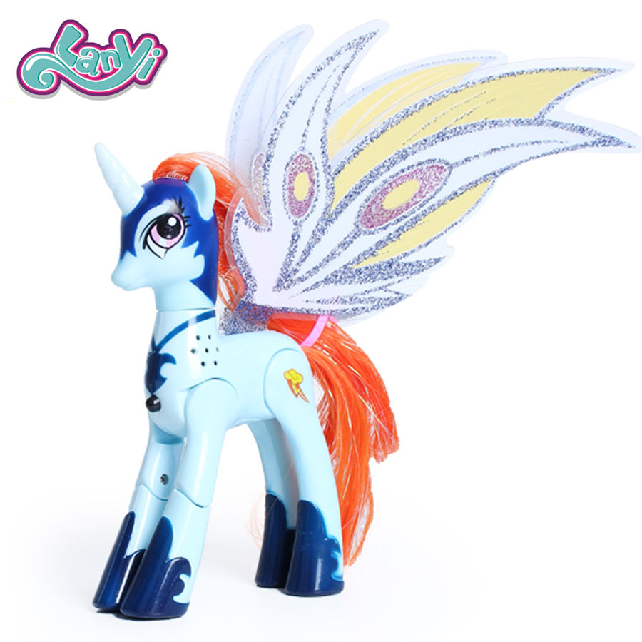 Lanyitoys My Little Magic Rainbow Ponies Action Figure Anime Figure Toys Original Surprise Unicorn With Light And Music 6 Inch