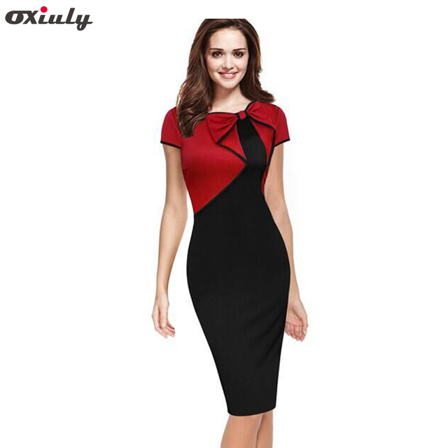 711473c92fd Oxiuly Women Summer Elegant Vintage Asymmetric Bow Pinup Red Blue Patchwork  Casual Wear to Work Business