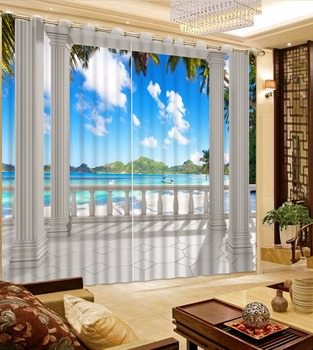 European Roman Curtain Home Decoration cool beach landscape Curtains For The Living room Bedroom Drapes Cotinas Para Sale
