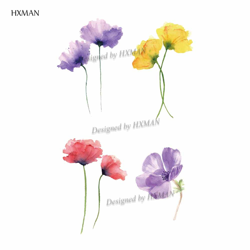 HXMAN Flower Temporary Tattoos Sticker Waterproof Fashion Women Arm Face Fake Body Art 9.8X6cm Kids Adult Hand Tatoo P-046