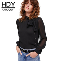 HDY Blouse Womens Black See Through Women S Tops Summer Tie Bow Chiffon Shirts Plus Size