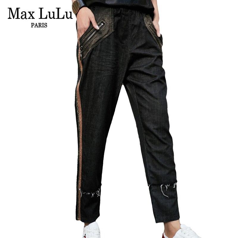Max LuLu 2019 De Luxe Coréenne Filles Pantalon Droit Des Femmes Déchiré Rayé Noir Jeans Mujer Femme Denim Pantalon Zipper Plus Taille