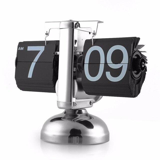 2017 Antique Style Auto Flip Digital Alarm Clock Reloj Despertador Vintage Modern Scale Metal Office Desk Clock Home Decor