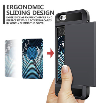 Case For iphone 5 5S SE 6 6S 7 8 Plus Slider Card Holder Wallet Armor Phone Back Cover for iphone X XS Max