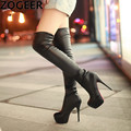 Plus Size 34-45 Hot 2016 Autumn Women Boots Sexy White High Heels Women Long Thigh High Boot Over the knee Platform Shoes Woman