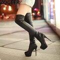 Plus Size 34-45 Hot 2016 Outono Mulheres Botas Sexy Branco de Alta sapatos de salto Mulheres De Longo Bota Alta Da Coxa Sobre o joelho Sapatos de Plataforma mulher